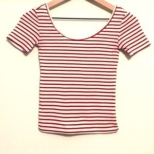 Aeropostale Soft Swoop Neck Tee Red Stripes